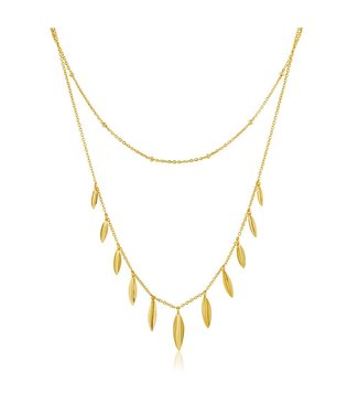 Ania Haie Tropic Thunder Leaf double necklace gold N011-03G