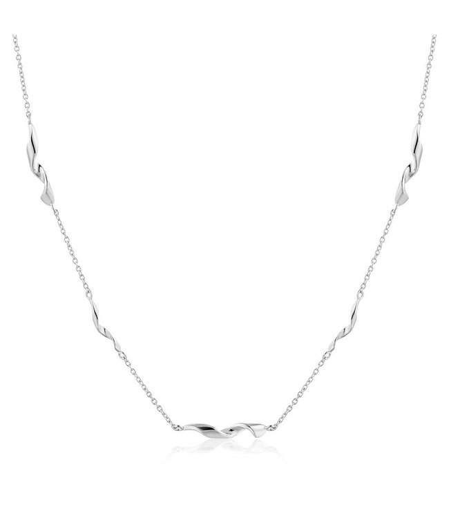 """Ania Haie Twister Helix 15"""" necklace silver N012-02H"""