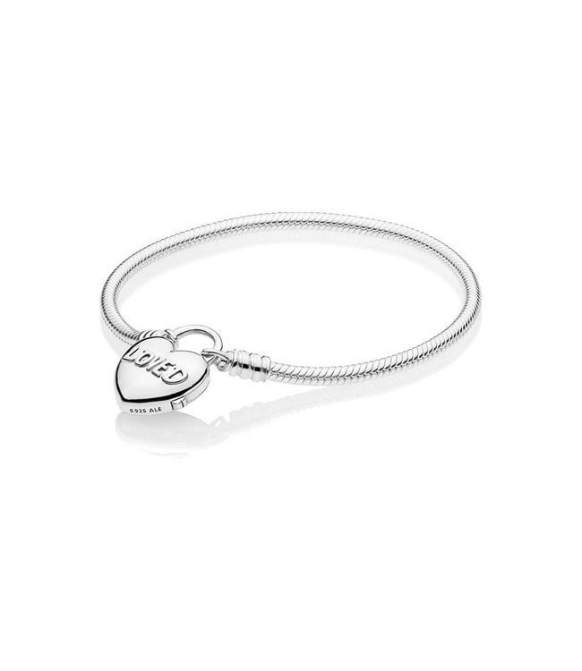 Pandora Loved Heart Padlock Clasp bracelet 597806