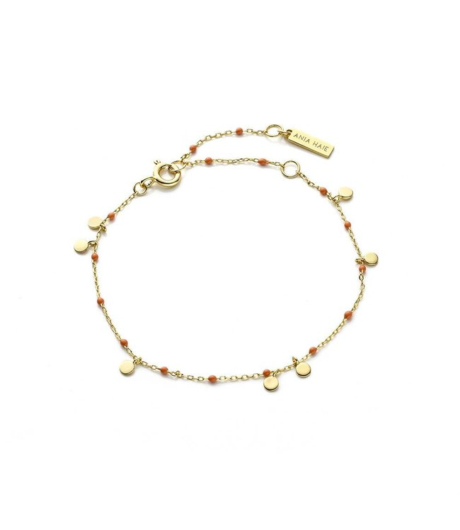 Ania Haie Connect The Dots with Coral studs bracelet gold B006-02G