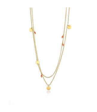 Ania Haie Connect The Dots with Coral double necklace gold N006-01G