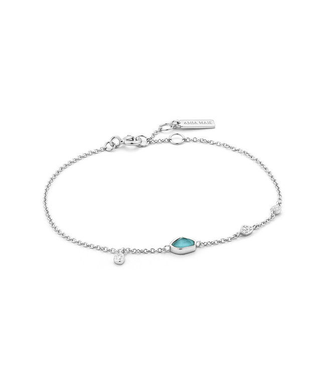 Ania Haie Mineral Glow Turquoise Discs bracelet silver B014-01H