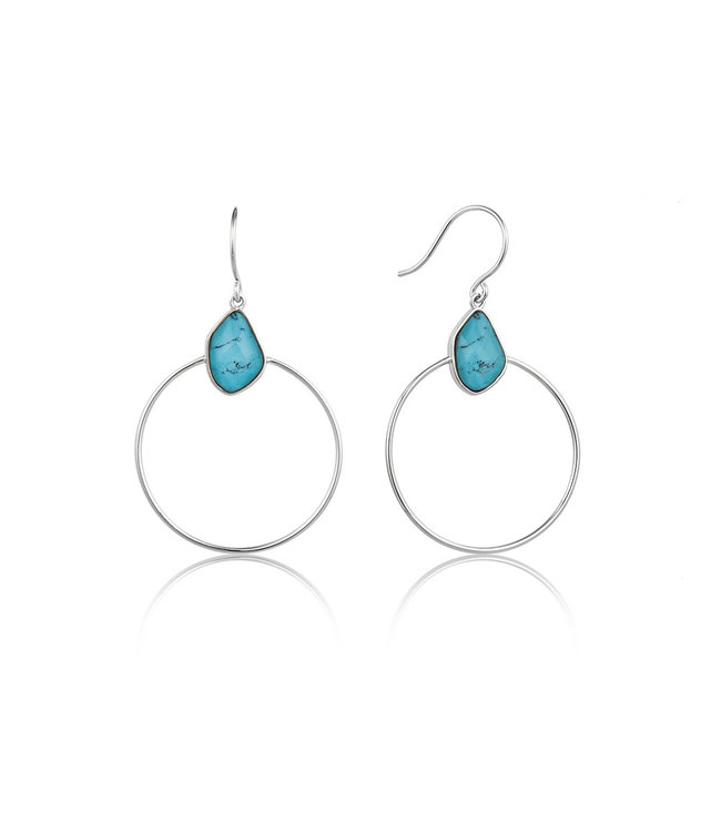 Ania Haie Mineral Glow Turquoise Front hoop earrings silver E014-02H