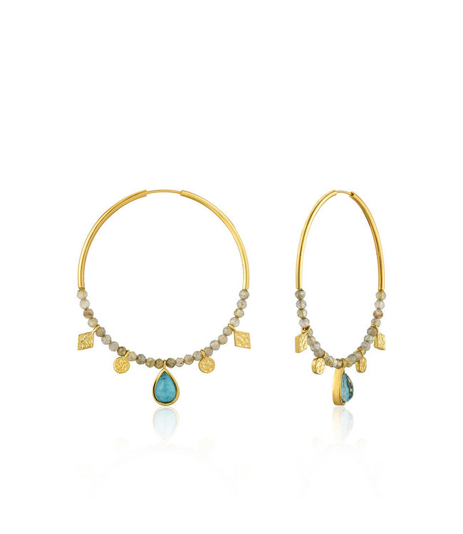 Ania Haie Mineral Glow Turquoise Labradorite hoop earrings gold E014-05G