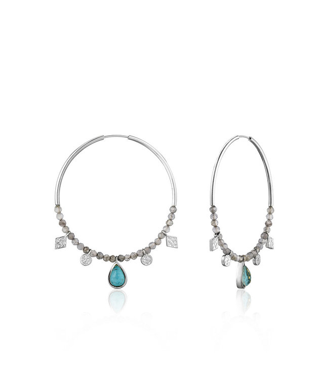 Ania Haie Mineral Glow Turquoise Labradorite hoop earrings silver E014-05H
