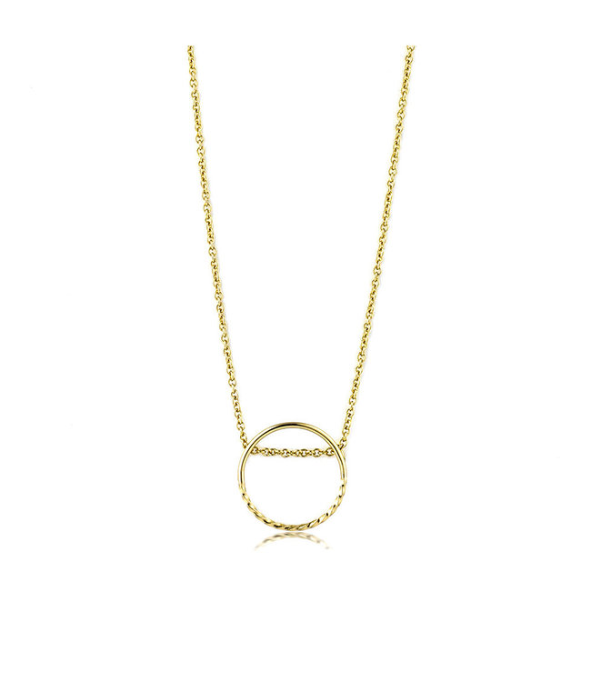 Ania Haie Texture Mix Chain Circle necklace N007-03G