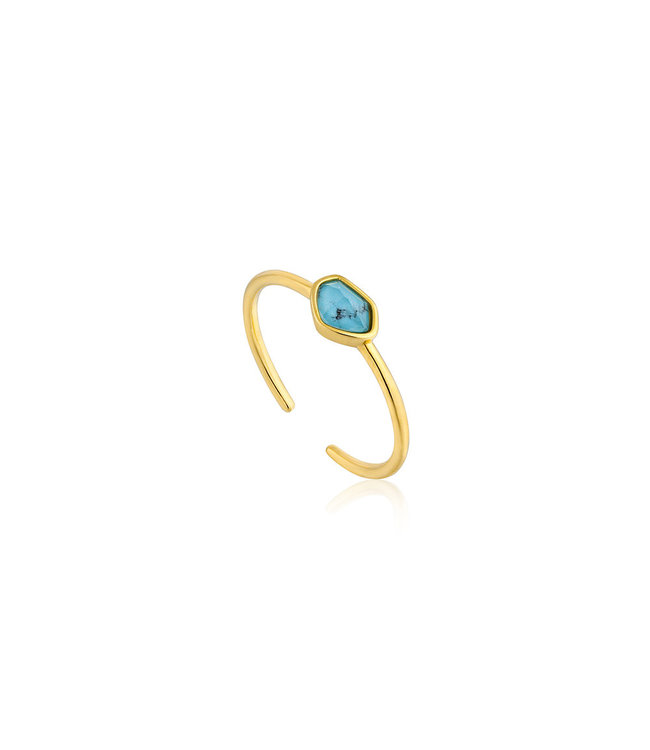 Ania Haie Mineral Glow Turquoise adjustable ring gold R014-01G