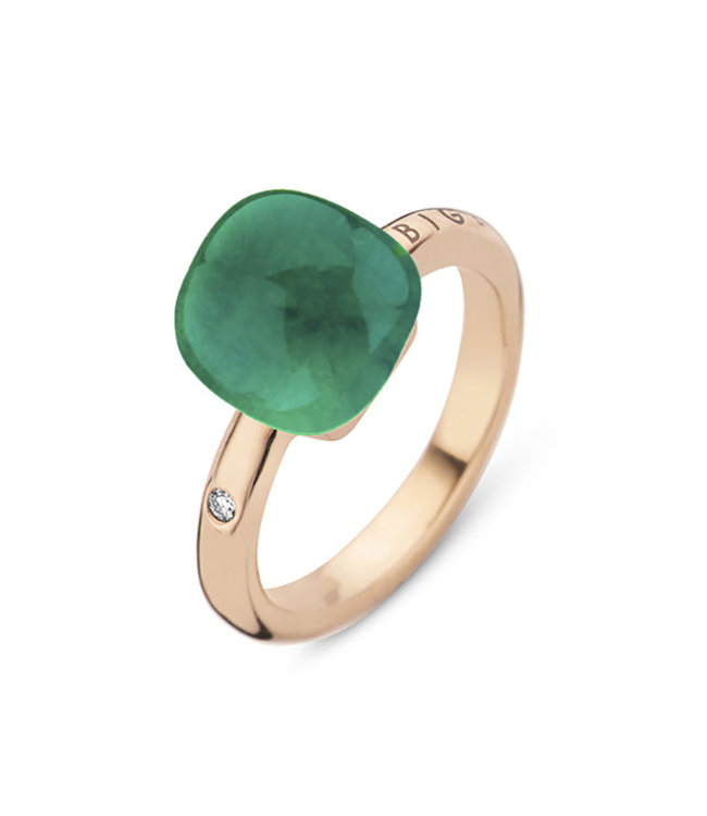 Bigli ring Mini Sweety Rock Crystal with Emerald and mother of pearl 20R88Rcrsmer