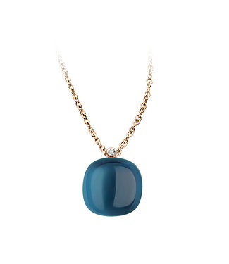 Bigli ketting Mini Sweety London Blue Topaz with mother of pearl 20H34Rlobmp/42
