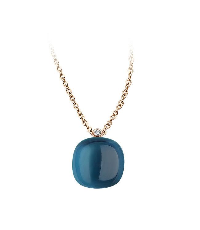 Bigli ketting Mini Sweety London Blue Topaz with mother of pearl 20H34Rlobmp/42