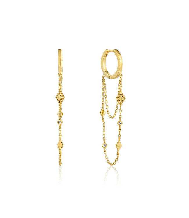 Ania Haie Bohemia Chain Drop Mini hoops gold E016-03G