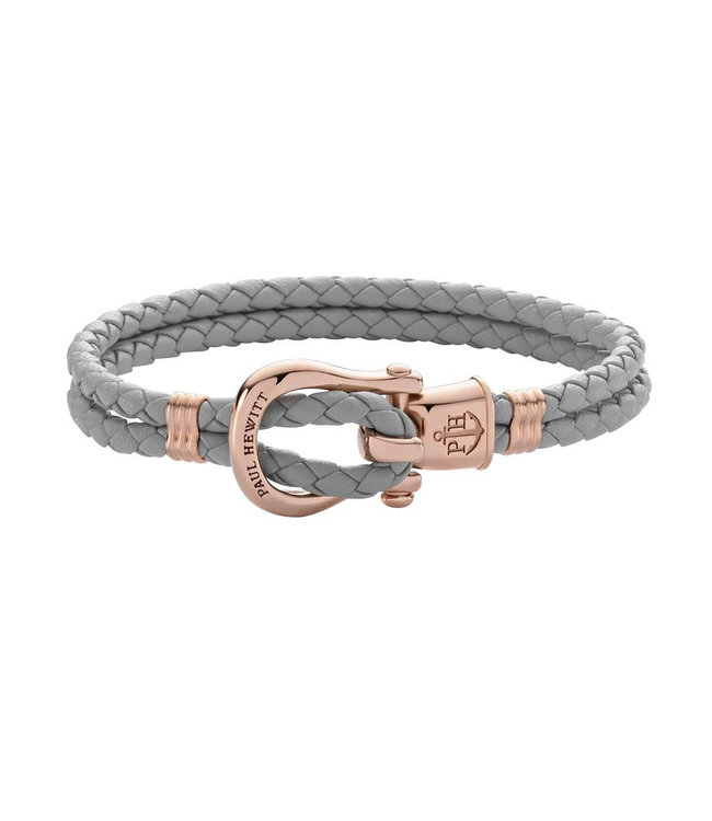 Paul Hewitt Phinity Shackle leather bracelet PH-FSH-L-R-Gr