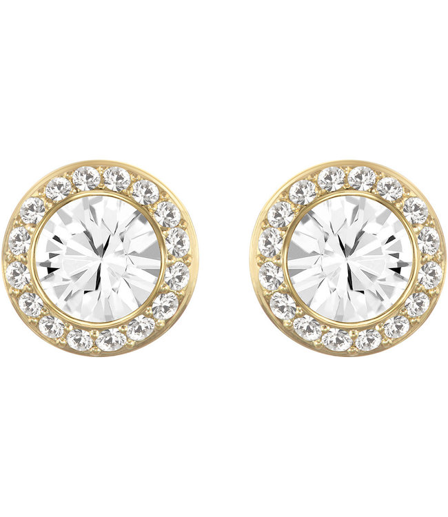 Swarovski Angelic pierced earrings Round gold 5505470