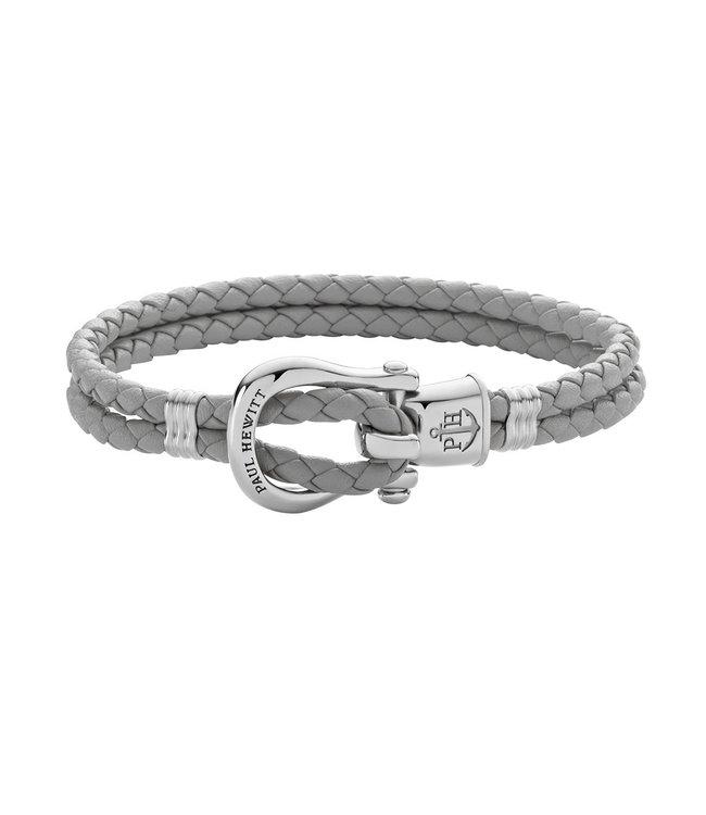 Paul Hewitt Phinity Shackle leather bracelet PH-FSH-L-S-GR