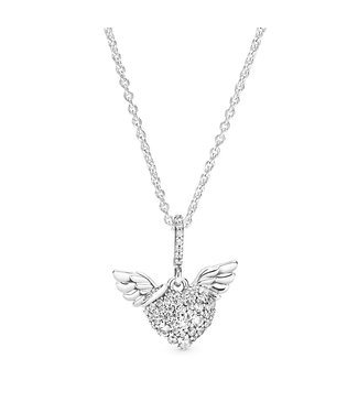 Pandora Pavé Heart & Angel Wings necklace 398505C01