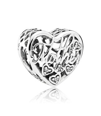 Pandora Mother and son heart silver charm with clear cubic zirconia