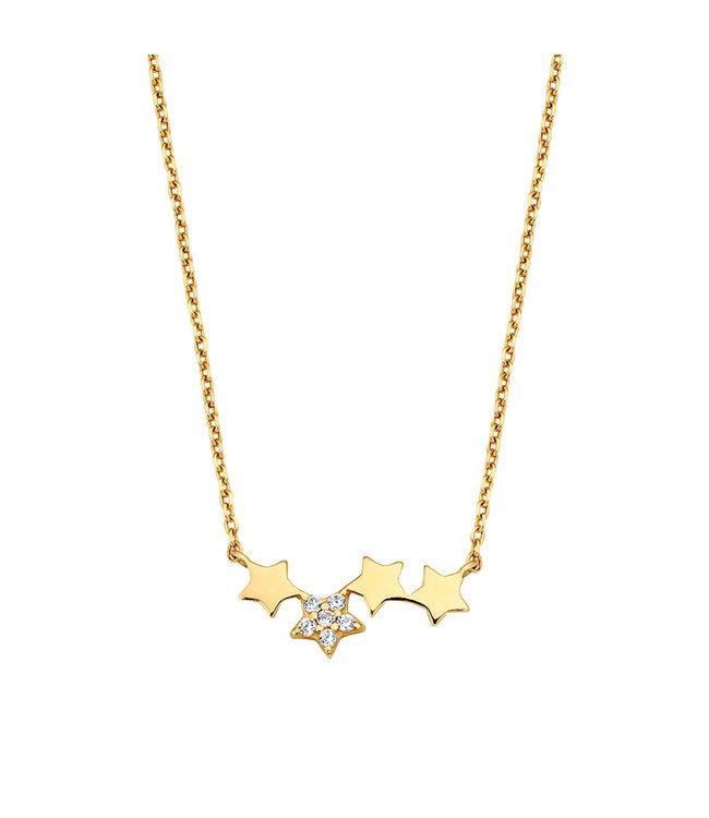 Lisamona Gold ketting 14kt geelgoud Stars G0024