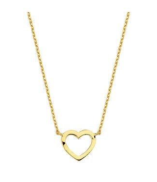 Lisamona Gold ketting 14kt geelgoud Heart G0033