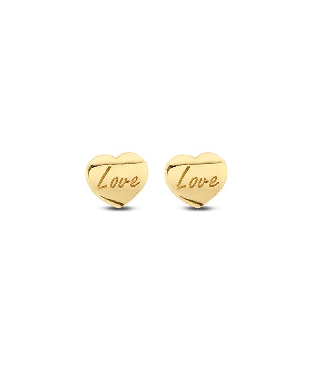 Lisamona Gold oorbellen 14kt geelgoud Heart G0039