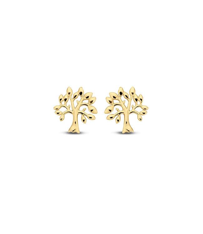 Lisamona Gold oorbellen 14kt geelgoud Tree G0041