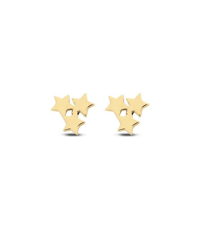 Lisamona Gold oorbellen 14kt geelgoud Stars G0045