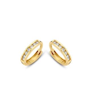 Lisamona Gold oorringen 14kt geelgoud 10mm zirconia G0053