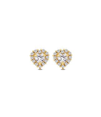 Lisamona Gold oorbellen 14kt geelgoud Heart G0085