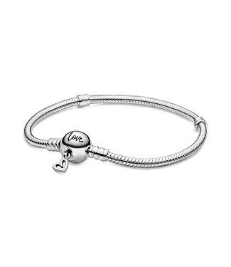 Pandora Freehand Heart Clasp & Snake chain bracelet 598698C00
