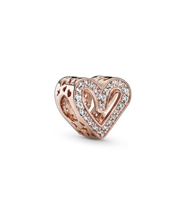 Pandora Sparkling Freehand Heart Rosé 788692C01
