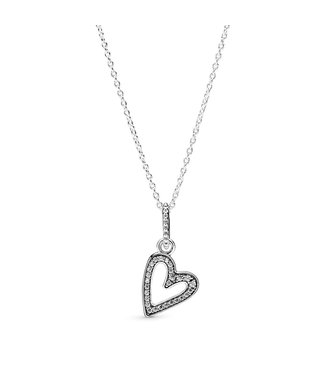Pandora Sparkling Freehand Heart necklace 398688C01-50