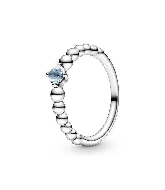 Pandora March Aqua Blue Beaded Stackable ring 198598C01