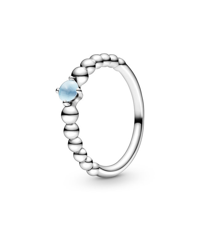 Pandora December Sky Blue Beaded Stackable ring 198598C07