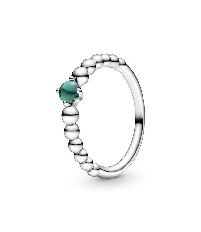 Pandora May Rainforest Green Beaded Stackable ring 198598C05