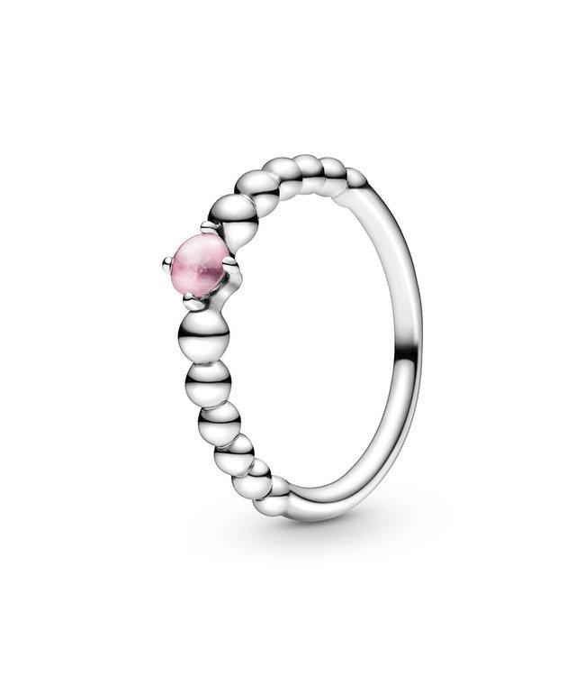 Pandora October Petal Pink Beaded Stackable ring 198598C09