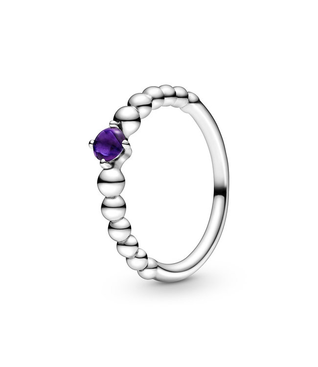 Pandora February Purple Beaded Stackable ring 198598C03