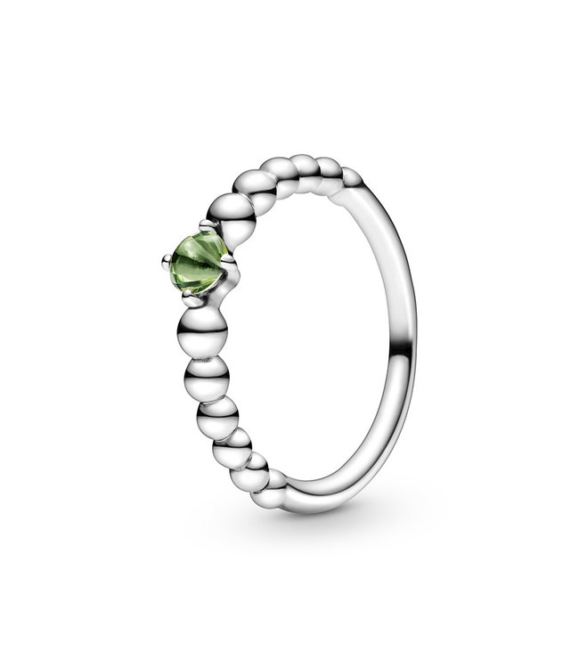 Pandora August Spring, Green Beaded stackable ring 198598C10