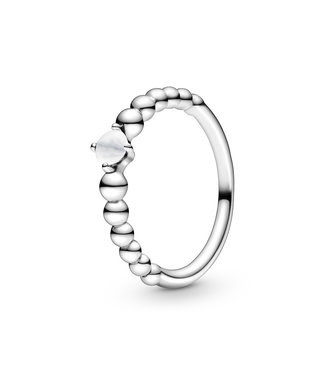 Pandora April Milky White Beaded Stackable ring 198598C04