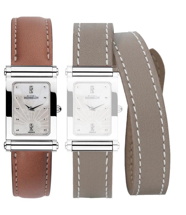 Michel Herbelin Antarès 1 cuir 1 laniere dames horloge COF.17048/59GTL