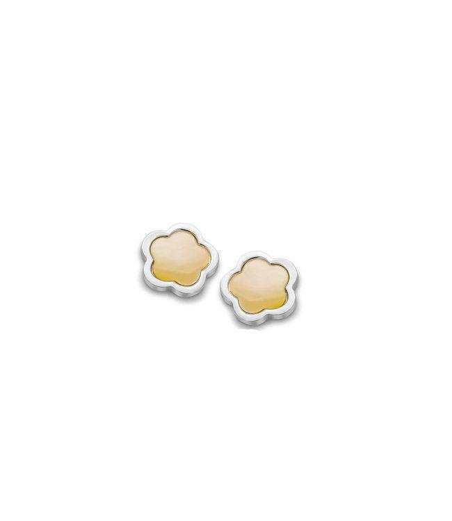 Orage Kids & Teenz oorbellen Bloem Parelmoer geel O/3947