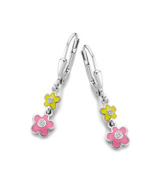 Orage Kids & Teenz oorbellen Bloem geel roze O/4869