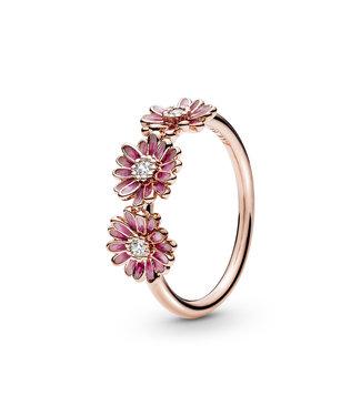 Pandora Pink Daisy Flower Trio non-stackable ring 188792C01