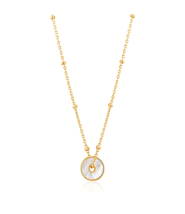 Ania Haie Hidden Gem Mother of Pearl disc necklace N022-01G