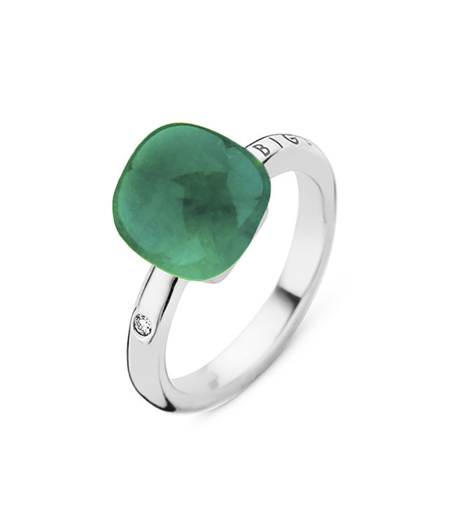 Bigli ring Mini Sweety Crystal with Emerald and mother of pearl 20r88Wcrsmerp