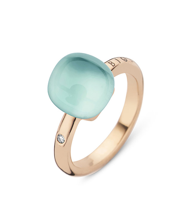 Bigli ring Mini Sweety Milky quartz with Light Blue Agate and mother of pearl 20R88RQlalbluagmp