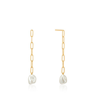 Ania Haie Pearl of Wisdom - Pearl Chunky drop earrings gold E019-05G