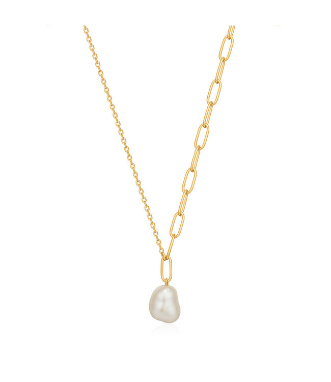 Ania Haie Pearl of Wisdom - Pearl Chunky necklace gold N019-03G