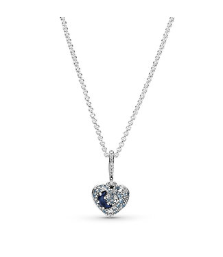 Pandora Sparkling Blue Moon & Stars Heart necklace 399232C01-50