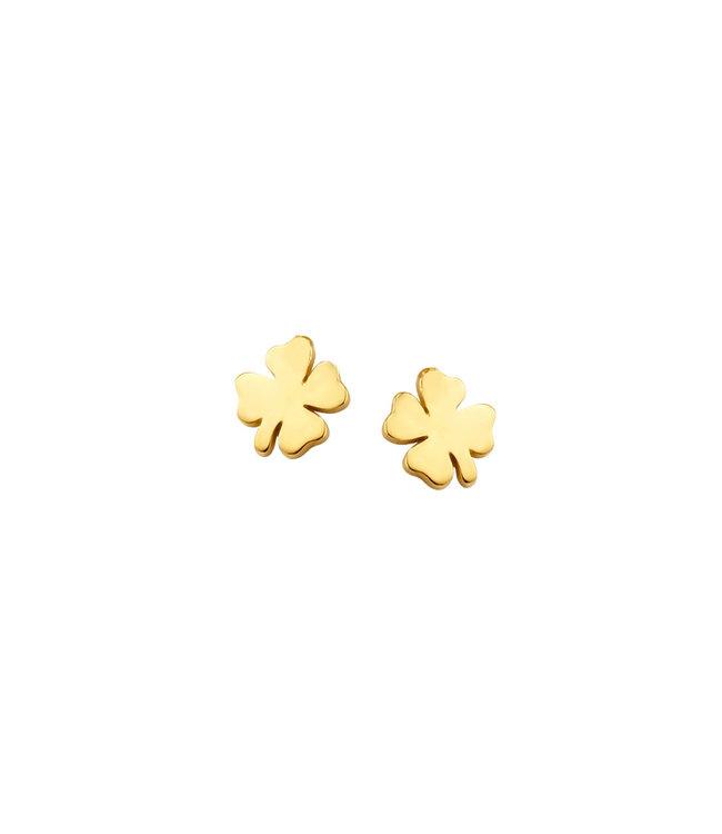 Lisamona Gold oorbellen 14kt geelgoud Klavertje G0169