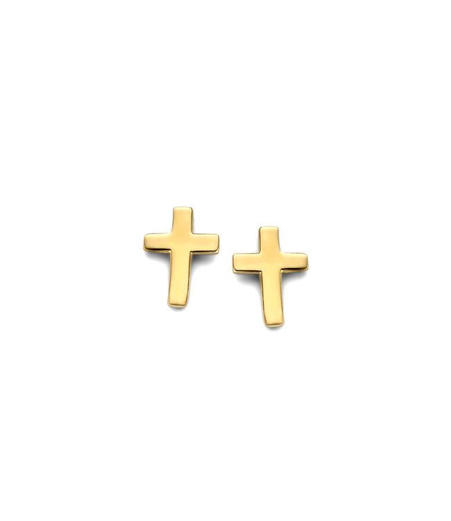 Lisamona Gold oorbellen 14kt Kruis G0160