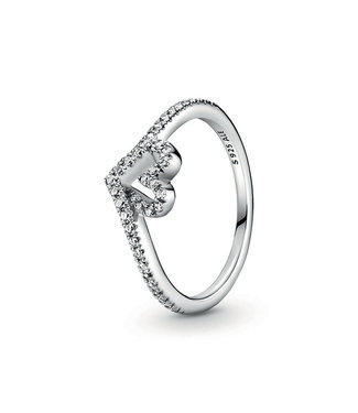 Pandora Sparkling Wishbone Heart ring 199302C01